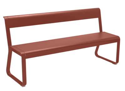 Bellevie Bench with back rest Red Ochre