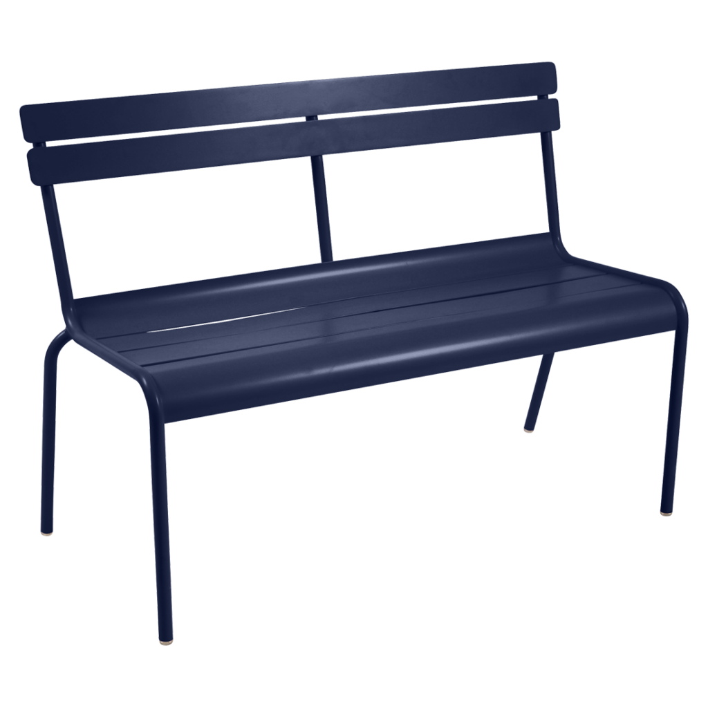 Fermob Luxembourg Bench with Backrest Deep Blue